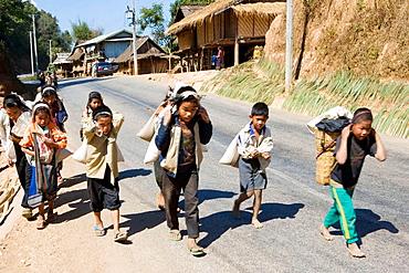 Children working, Laos, January 2007.