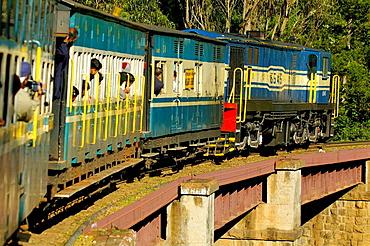 Nilgiri Mountain Railway driving over one of the many bridges between Ooty and Coonoor, India, Tamil Nadu 2005