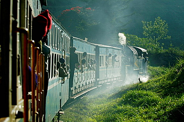 Exciting trip with Nilgiri Mountain Railway on it's descent from Coonoor to Mettupalayam, Part of the journey is managed only by a rack-and-pinion system, India, Tamil Nadu 2005
