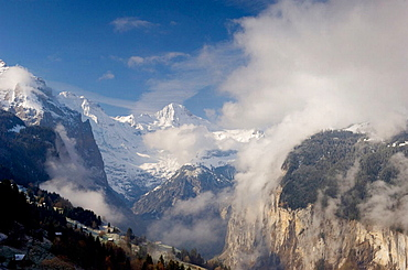 Lauterbrunnen Valley at dawn viewed from Wengen, Bernese Oberland, Switzerland, Europe