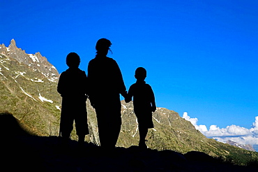 Mountaineers, Infant walkers in Les Ecrins National Park, Los Alpes, Briancon, France