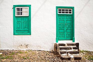 Detail of a door and a window of a house in Teguise  Lanzarote island: Province of Las Palmas  Canary Islands  Spain