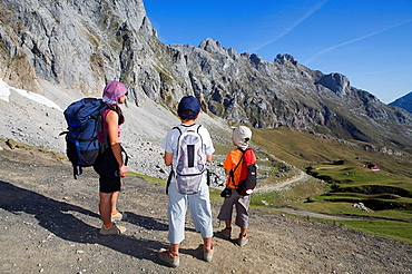 Family practice mountaineering in the Urrieles massif, of walking in the Picos de Europa National Park, Cantabria, Spain