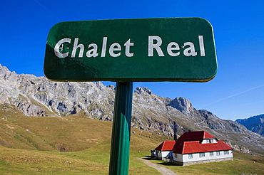 Signal or post with information in the Urrieles massif, abaut Chalet Real in the Picos de Europa National Park, Cantabria, Spain