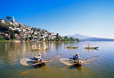 Michoacan State, Patzcuaro Lake, The butterfly fishermen, Mexico.