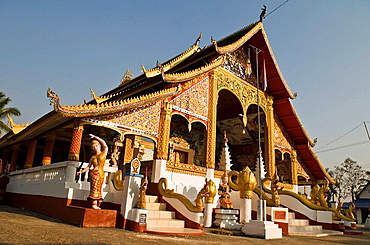 The beautiful Buddhist temple in the border town of Houei Xay, Laos