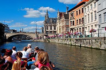 Belgium, Flanders, Ghent, Leie River, Tourits Boat