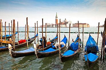 Several gondolas moored in front of San Giorgio Maggiore in Venice, Italy, Europe