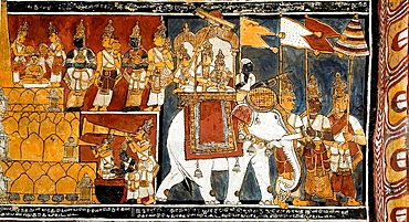 Murals in Trailokyanatha Jeenaswami Temple ceiling in Tiruparuthikunram near Kanchipuram, Tamil Nadu, South India, India, Tiruparuthikunram also called Jaina Kanchi is a well-known shrine for Jains, There are three temples in the campus, one for Vard