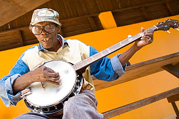 Musician, near Bob Marley mausoleum, Nine Mile, Jamaica