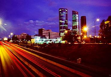 CTBA and M-30 motorway, Night view, Madrid, Spain