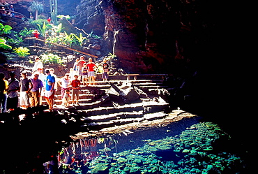 People visiting the Jameos del Agua cave Lanzarote island Canary Islands Spain