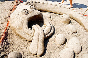 Sea monster sand sculpture on Thomas Beach at Lake Calhoun Aquatennial Beach Bash Minneapolis Minnesota USA