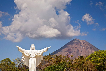 Statue of Jesus in front of Concepcion Volcano on Ometepe Island, Nicaragua