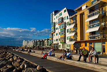 People relaxing at Vastra Hamnen the west harbour in Malmo Skv•ne Sweden Europe