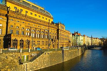 Riverside Vltava with National theatre in Prague Czech Republic
