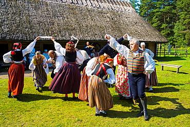 Folk dance and music show Vabaohumuuseum the outdoor heritage museum at Rocco al Mare in Tallinn Estonia Europe