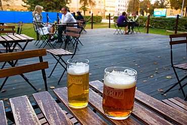 Terrace of Moritz microbrewery in central Olomouc Czech Republic Europe