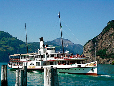 Steamboat in Lake Lucerne, Central Switzerland