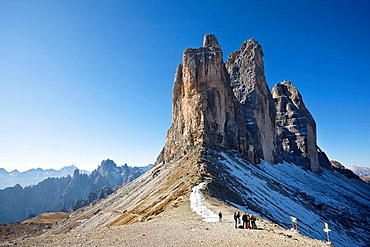 The Drei Zinnen, Tre Cime di Lavaredo, in South Tyrol, Alto Adige  The Drei Zinnen are one of the icons of the european alps and a major tourist attraction on all seasons    Toblach, Nature Park Sextener Dolomiten, South Tyrol, Italy