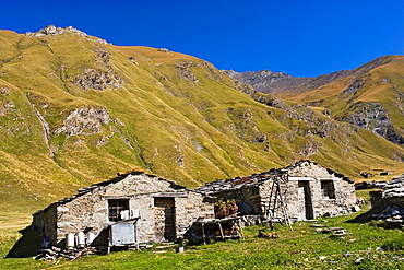 Grange Bernard in the Vallone di Soustra, Piemont, Italy    Grange is the local word for traditional alps mountain huts, where shepards tend thheir cows for milk and cheese