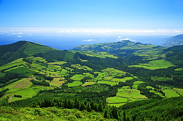 View of Sao Miguel island, Azores, from Pico Bartolomeu, one of the islands highest mountains