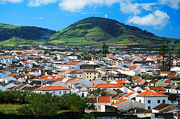 The azorean city of Ribeira Grande, in the island of Sao Miguel  Azores, Portugal