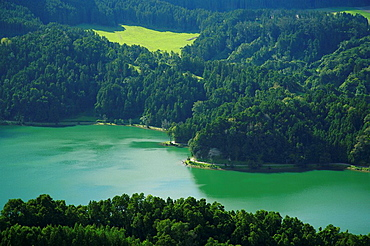 A different perspective of the Green Lake, inside Sete Cidades crater  Sao Miguel island, Azores, Portugal