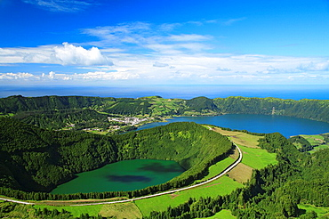 Sete Cidades crater and Santiago lake  Sao Miguel island, Azores islands, Portugal