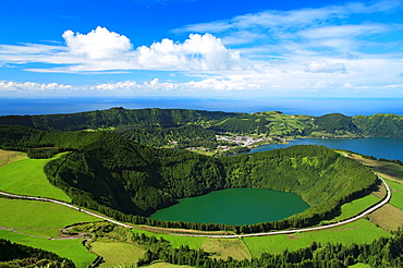 Sete Cidades crater, with Santiago lake in the foreground  Sao Miguel island, Azores