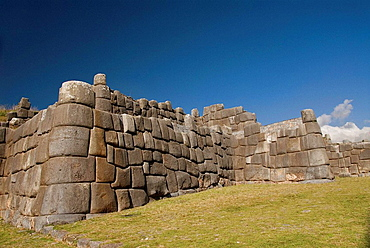 Peru, Sacsayhuaman (Spanish meaning is satisfied falcon), near Cuzco, Inca fortification, the middle level of the magnificent three-tiered zig-zag walls/ramparts, site of one of the bitter battles during the Spanish conquest
