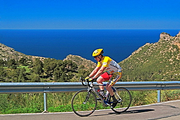 Route C-710 along the North West coast in the Tramuntana mountains, favourite route for bikers, Mallorca, Baleares, Spain