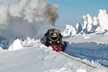 Germany, Saxony-Anhalt, Harz, Elend, Harzer Schmalspurbahn (Narrow gauge line).