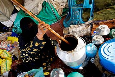 Saudi Arabia, Ha Il town, woman at traditional market