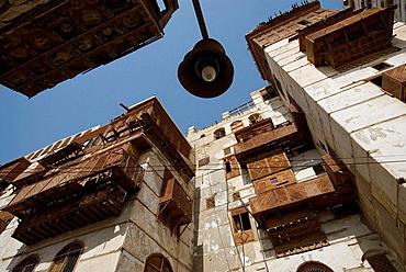 Saudi Arabia, Jeddah, old houses in the souk