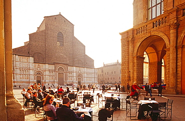 Piazza Maggiore (Main Square) with the cathedral of St, Petronio in background, Bologna, Italy