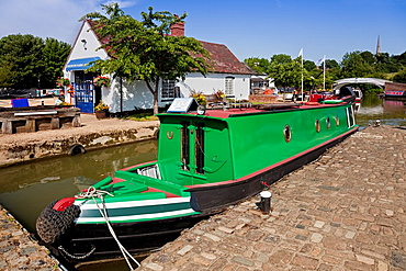 England Northamptonshire Braunston Marina with marina shop and narrowboat Charles the First for sale