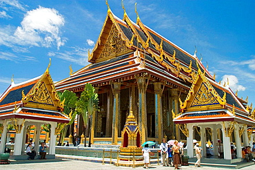 Chapel Royal of the Emerald Buddha  Wat Phra Kaew in the Grand Palace grounds at Bangkok, Thailand  This temple houses the most revered Buddha image in Thailand