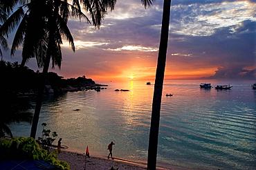 Maehaad beach at sunset Koh Tao Turtle Island, Thailand, Asia