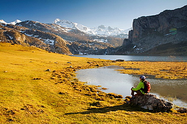 Ercina Lake and Pena Santa de Enol Mount  Covadonga Lakes  Picos de Europa National Park, Asturias, Spain