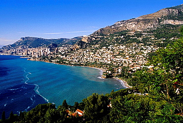 The coast from Roquebrune to Monaco Alpes Maritimes 06 PACA French Riviera Cote dAzur France Europe