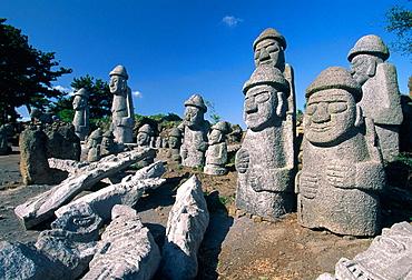 Harubang, the guardians of the islan, Jeju Island, Republic of Korea.