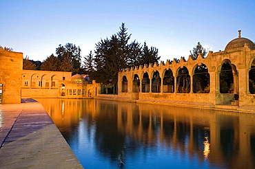 Turkey, Anatolia, Sanliurfa (aka Urfa, the Prophets city), Golbasi, Balikli Gol, Halilur Rahman Camil and arcaded wall of Rizvaniye Vakfi Camil and Medressa, with pool filled with sacred carp, at night