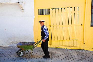 Man pushing wheel barrow along street, Gunduzbey village, Malatya, Anatolia, Turkey