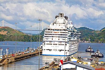 Island Princess Cruise ship transitting Miraflores Locks, Panama Canal, Panama