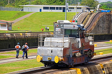 Mechanical mule or electric locomotive used to guide cruise ships through locks, Miraflores Locks, Panama Canal, Panama
