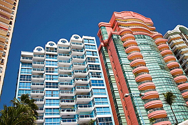 Condominiums, apartments, overlooking the beach, Acapulco, Guerrero State, Mexico