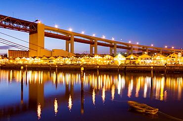 Docas at 25 Abril Bridge, Lisbon, Portugal.