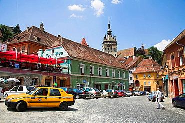 Clock tower, Turnul cu Ceas, and the town of Sighisoara, Transylvania, Romania