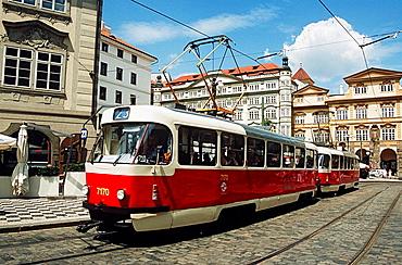 Tram travelling in a street, Prague, Czech Republic